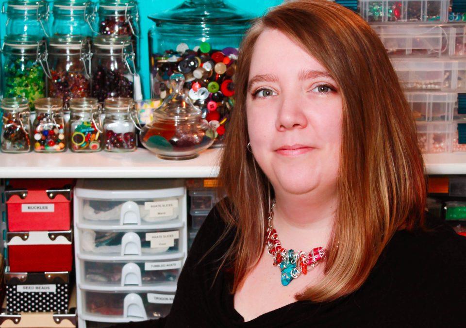 Gayle in her studio in 2014