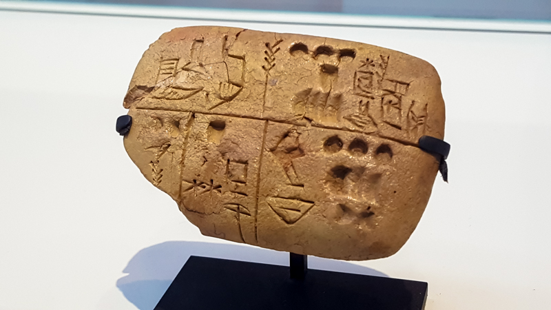 Pre-cuneiform writing tablet noting food rations: archives from the Temple of the Sky God (3300 BC, Mesopotamia)